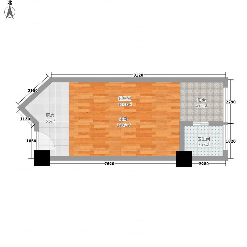 逸景湾51.41㎡1#楼7、10室户型1室1厅1卫1厨