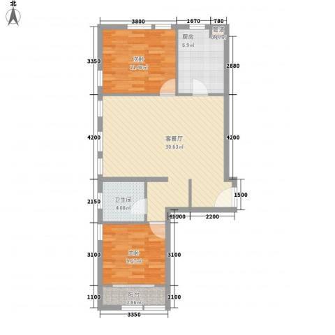 紫金广场2室1厅1卫1厨98.00㎡户型图