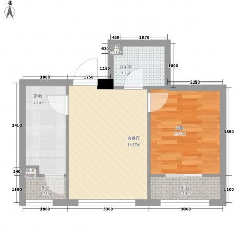 紫金广场1室1厅1卫1厨62.00㎡户型图