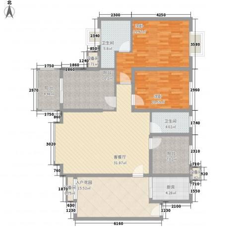 禹洲领海2室1厅2卫1厨158.00㎡户型图