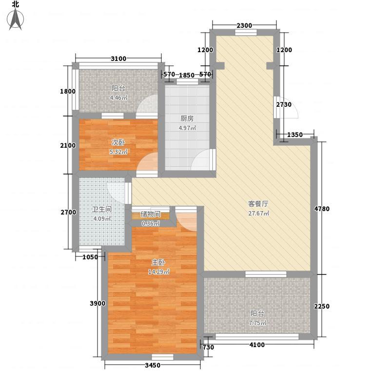 博荣水立方78.40㎡B-6户型2室2厅1卫1厨