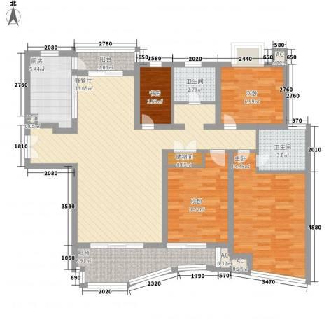 金沙丽晶苑4室1厅2卫1厨143.00㎡户型图