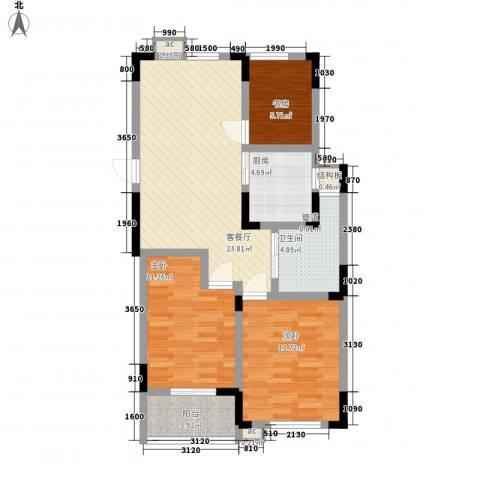 嘉顺花园3室1厅1卫1厨98.00㎡户型图