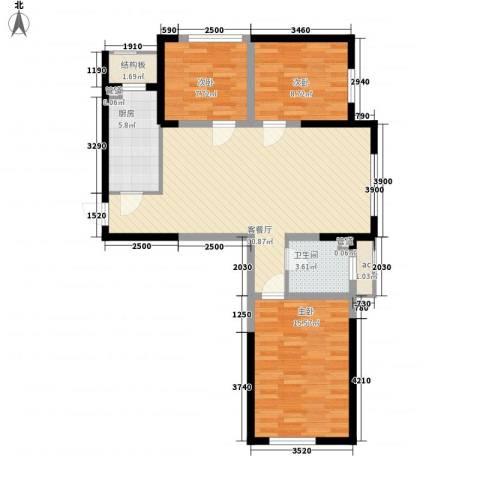 万晟爱琴海二期3室1厅1卫1厨106.00㎡户型图