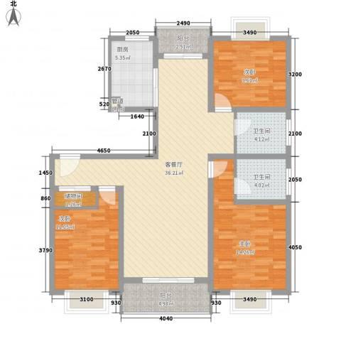 阳光迪金阁3室1厅2卫1厨136.00㎡户型图