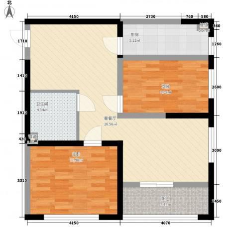 恒盛豪庭2室1厅1卫1厨91.00㎡户型图