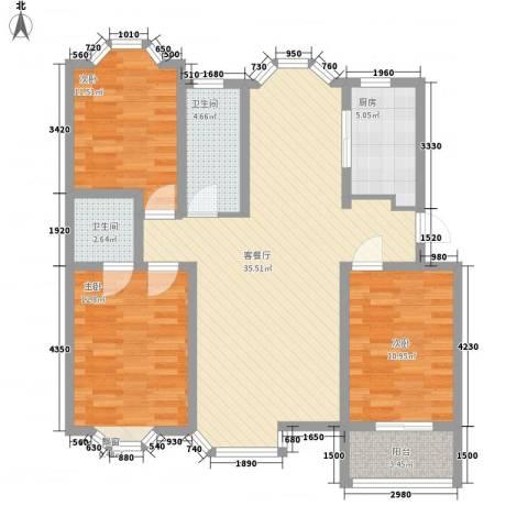 汇源华庭3室1厅2卫1厨123.00㎡户型图