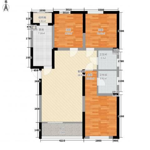万晟爱琴海二期3室1厅2卫1厨124.00㎡户型图