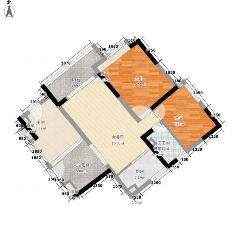 金域蓝湾别墅2室1厅1卫1厨84.00㎡户型图