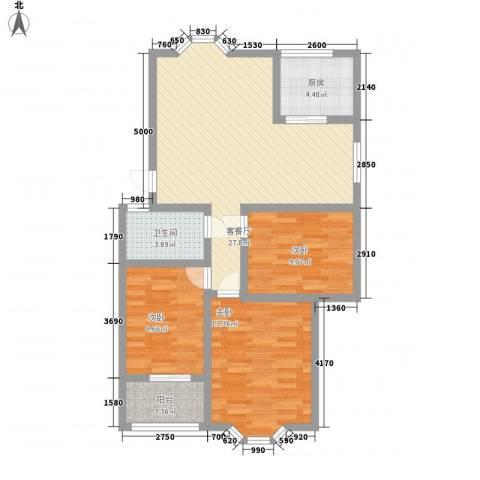 汇源华庭3室1厅1卫1厨103.00㎡户型图