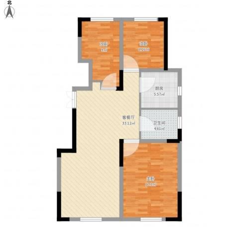 中海凤凰熙岸3室1厅1卫1厨110.00㎡户型图