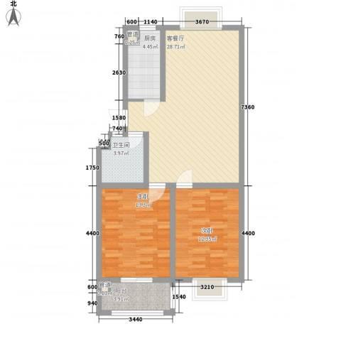汇源华庭2室1厅1卫1厨96.00㎡户型图