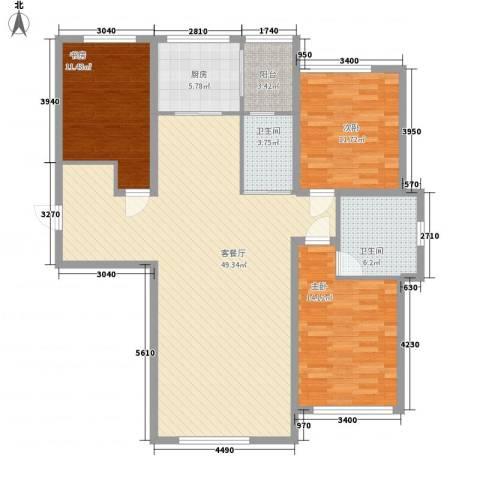 新星宇和邑3室1厅2卫1厨148.00㎡户型图