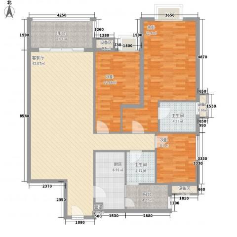明日华府3室1厅2卫1厨159.00㎡户型图