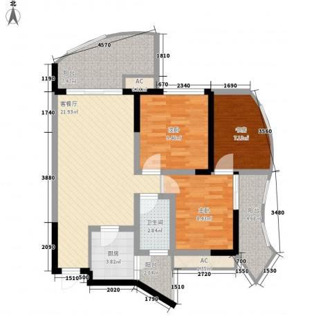 远大都市风景四期3室1厅1卫1厨82.00㎡户型图