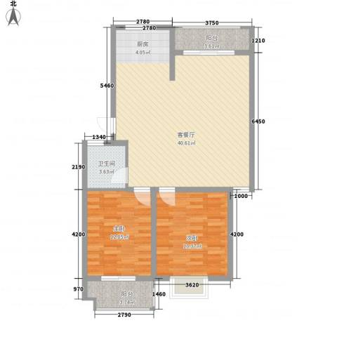 新港名兴花园2室1厅1卫0厨108.00㎡户型图