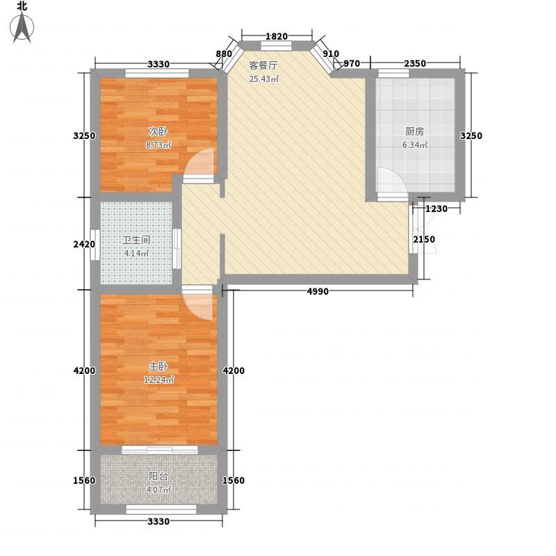 映月清水湾90.00㎡映月清水湾户型图4#楼a32室2厅1卫1厨户型2室2厅1卫1厨