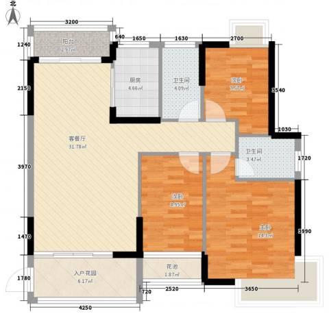 龙湾新城3室1厅2卫1厨115.00㎡户型图