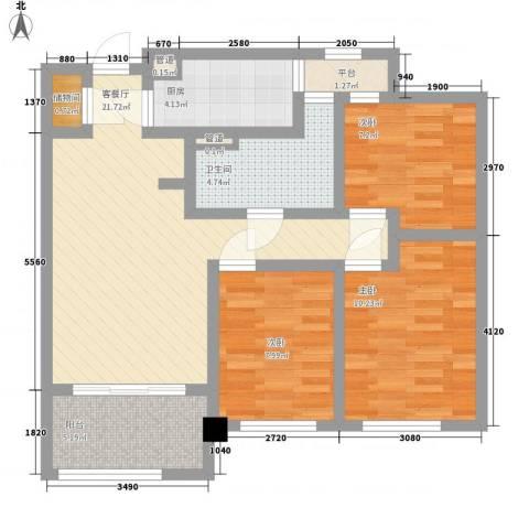 绿地海珀璞晖3室1厅1卫1厨96.00㎡户型图