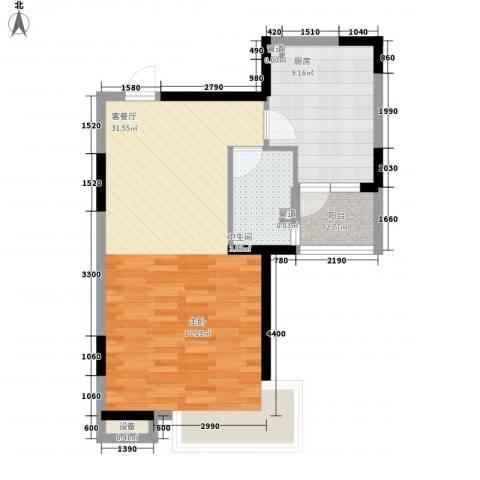 和华国际公寓1厅1卫1厨47.83㎡户型图