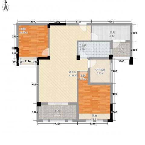 观澜御苑二期观澜御�台2室1厅1卫1厨104.00㎡户型图