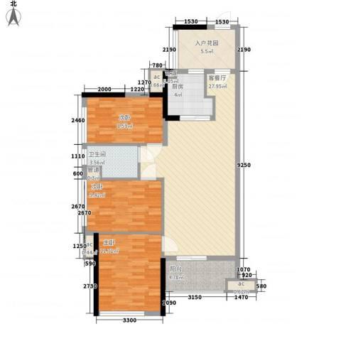 万科金域松湖3室1厅1卫1厨77.58㎡户型图