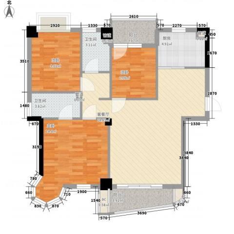 西城龙庭3室1厅2卫1厨94.00㎡户型图