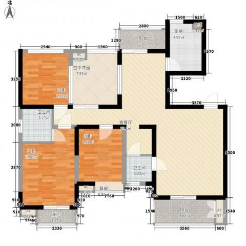西子湖畔3室1厅2卫1厨138.00㎡户型图
