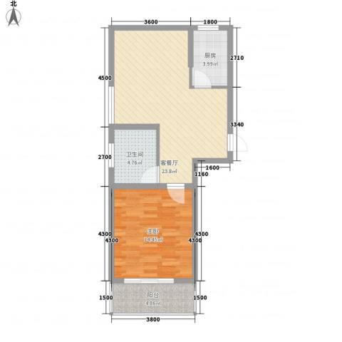 捷瑞新时代1室1厅1卫1厨77.00㎡户型图