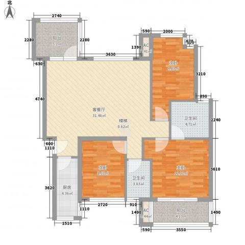万科城市高尔夫花园二期3室1厅2卫1厨121.00㎡户型图