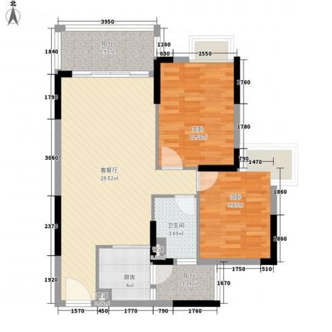 龙湾新城2室1厅1卫1厨80.00㎡户型图