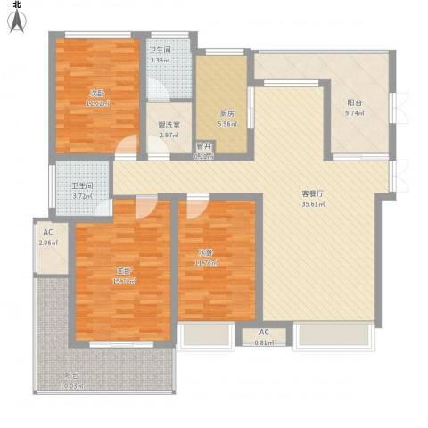融侨天骏3室1厅2卫1厨164.00㎡户型图