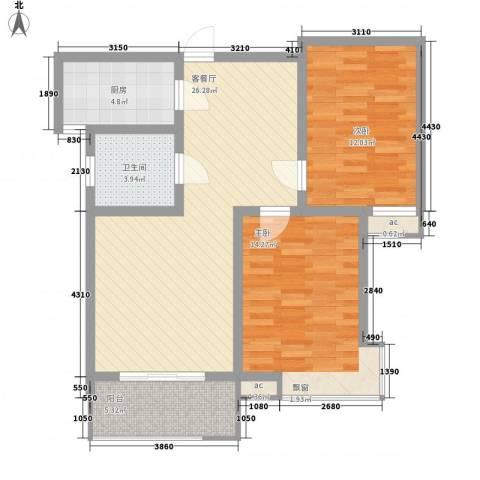 嘉顺花园2室1厅1卫1厨97.00㎡户型图