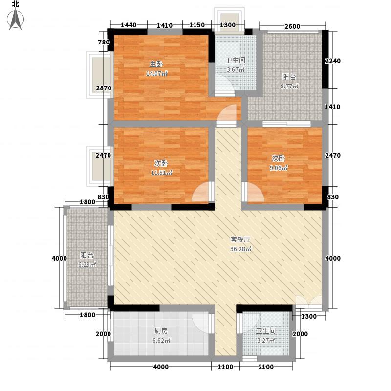 兴盛前城124.83㎡2-G户型3室2厅2卫