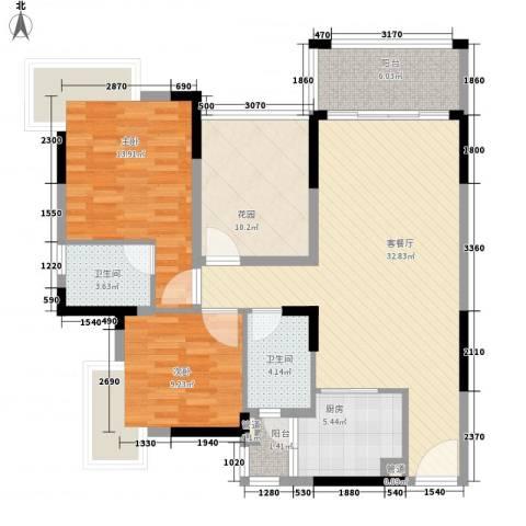 龙湾新城2室1厅2卫1厨92.00㎡户型图