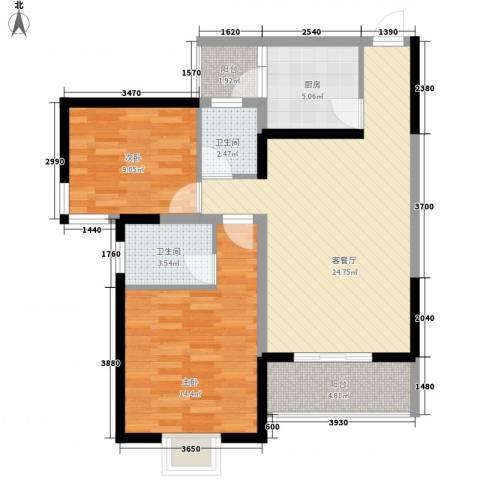 新港名兴花园2室1厅2卫1厨95.00㎡户型图