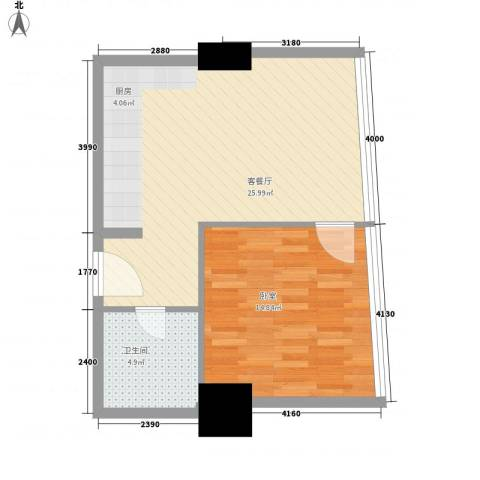 新街口苏宁生活广场1厅1卫0厨51.20㎡户型图