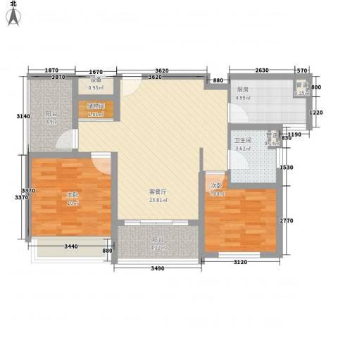 绿地卡米小城2室1厅1卫1厨88.00㎡户型图