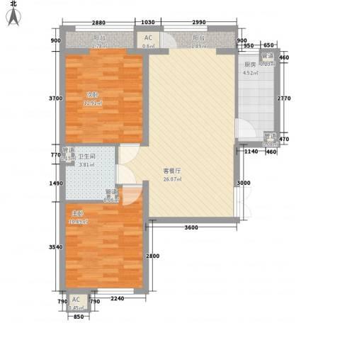 明天第一城7号院2室1厅1卫1厨85.00㎡户型图