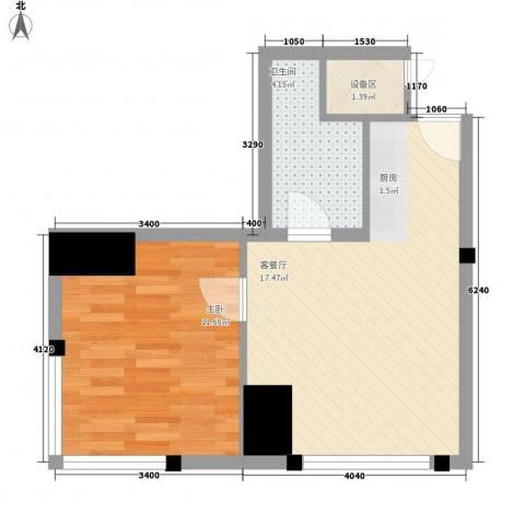 国融国际1室1厅1卫0厨52.00㎡户型图