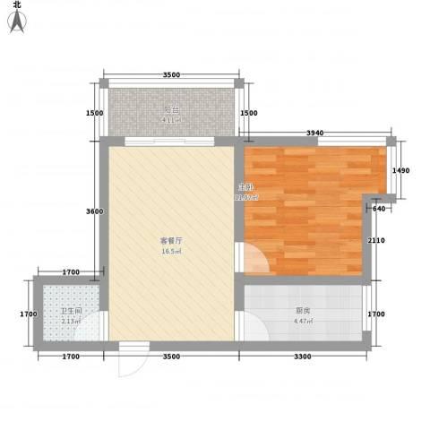 捷瑞新时代1室1厅1卫1厨54.00㎡户型图
