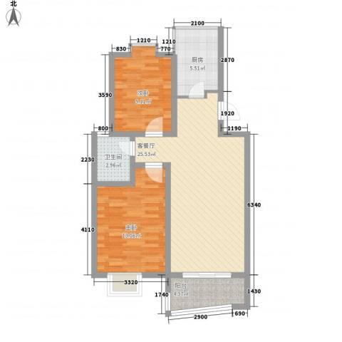 碧波苑2室1厅1卫1厨88.00㎡户型图