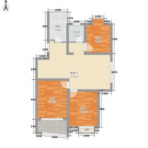 碧波苑3室1厅1卫1厨102.00㎡户型图