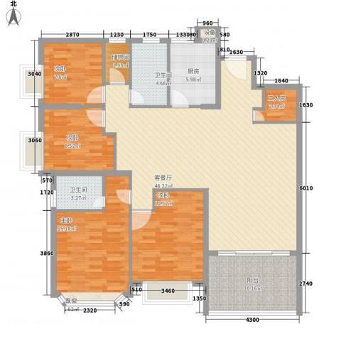王府花园4室1厅2卫1厨166.00㎡户型图