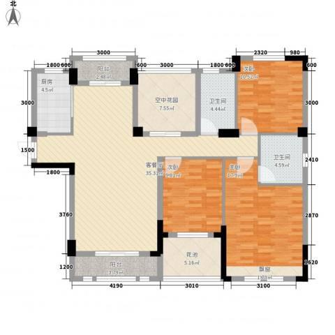 观澜御苑二期观澜御�台3室1厅2卫1厨131.00㎡户型图