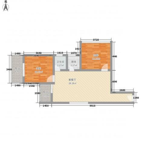 文景雅苑2室1厅1卫1厨89.00㎡户型图