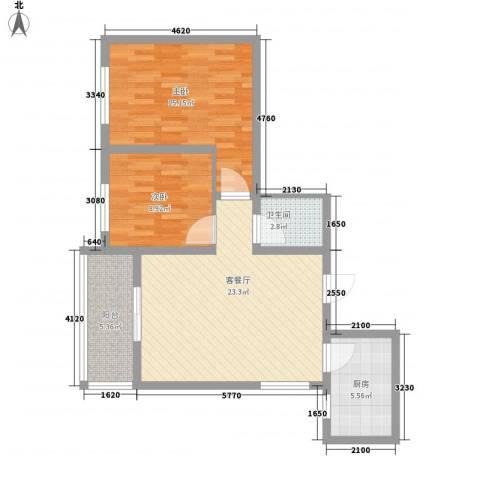 百合花园二期2室1厅1卫1厨88.00㎡户型图