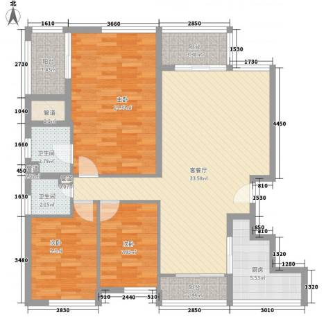万科城市高尔夫花园二期3室1厅2卫1厨133.00㎡户型图