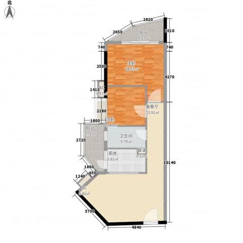 臻品云山2室1厅1卫1厨120.00㎡户型图