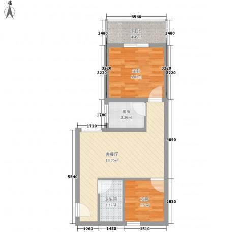 文景雅苑2室1厅1卫1厨66.00㎡户型图